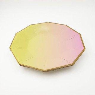 10 assiettes polygone jaune et rose 23 cm
