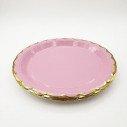10 assiettes ronde rose clair bord doré