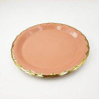 10 assiettes ronde pêche bord doré