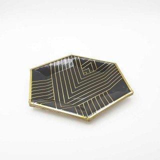 10 petites assiettes polygone noir rayée or