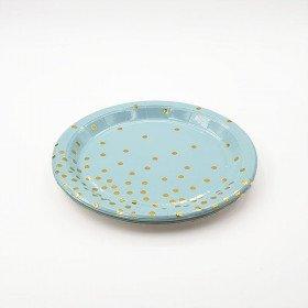 10 petites assiettes rondes bleu pois or