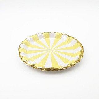 10 petites assiettes carton jaune à rayures bord or
