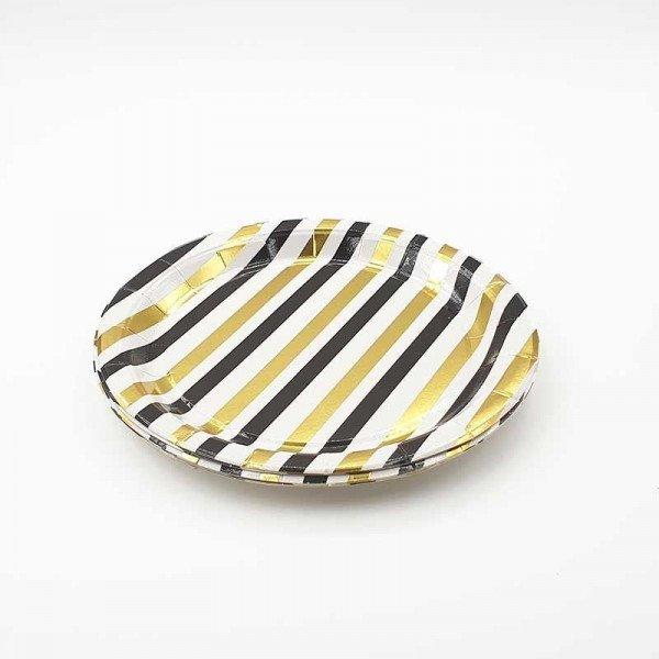 10 petites assiettes rayée noire et or