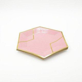 10 petites assiettes polygone rose et or