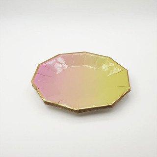 10 petites assiettes polygone jaune et rose