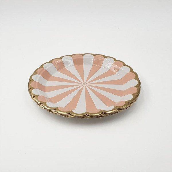 10 petites assiettes ronde  rayée peche