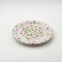 10 assiettes papier blanches à pois rose, vert et étoiles or