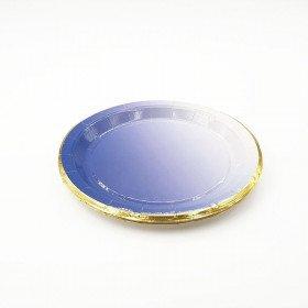 10 petites assiettes carton bleu dégradé