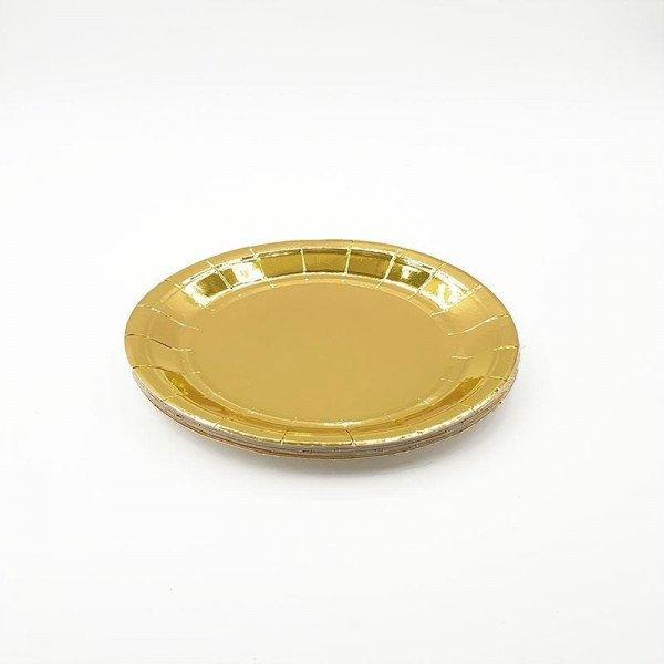 10 petites assiettes carton or