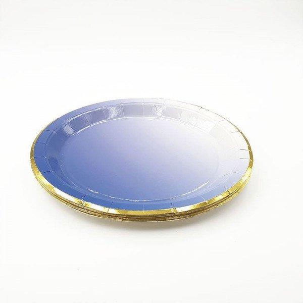 10 assiettes carton bleu dégradé