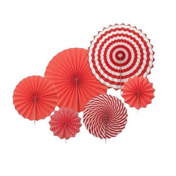 Kit 6 rosaces papier rouge