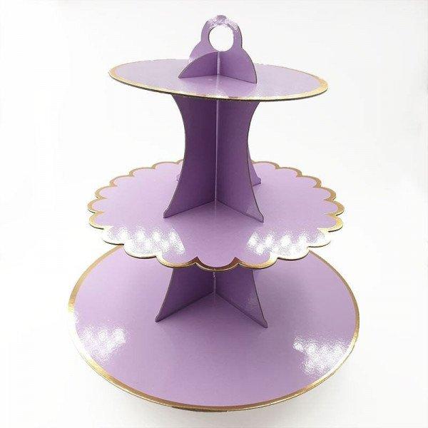 Support cupcake 3 étages parme