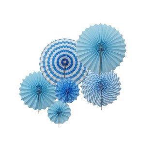 Kit 6 rosaces papier bleu