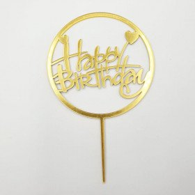 Cake topper Happy Birthday rond or