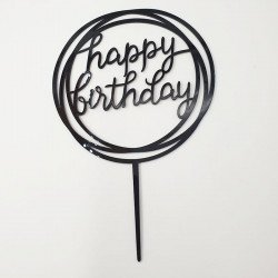 Cake topper Happy Birthday rond noir