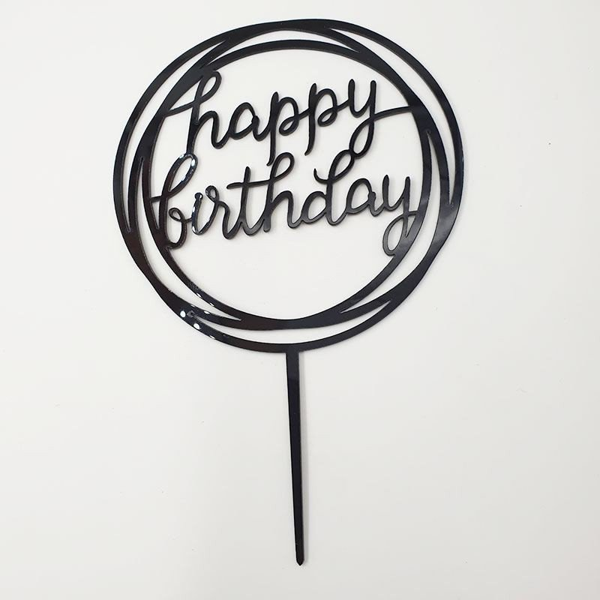Cake topper Happy Birthday rond noir