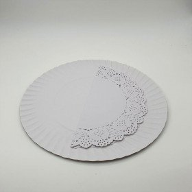 3 Plateaux rond blanc + napperon 28cm