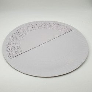 2 Plateaux rond blanc + napperon 36cm