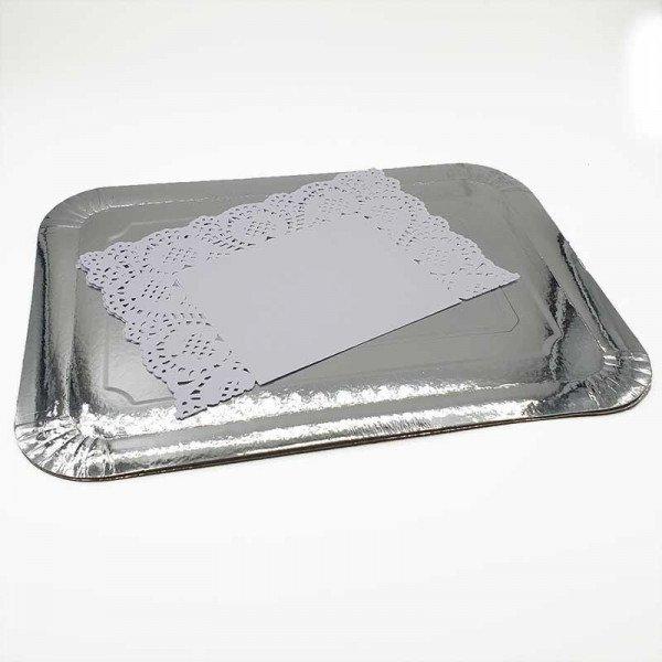 2 Plateaux rectangulaire argent + napperon 28X36cm