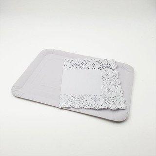 Plateau rectangulaire blanc + napperon 21X28cm