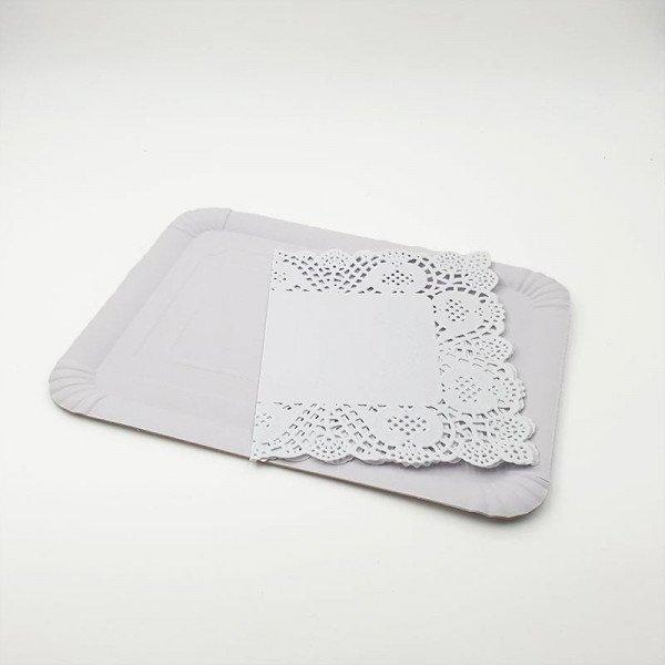 3 Plateaux rectangulaire blanc + napperons 21X28cm