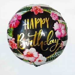 Ballon mylar rond happy birthday fleuri