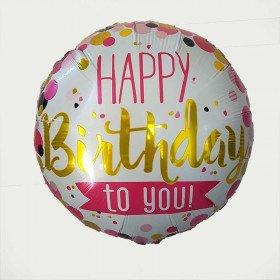 Ballon mylar rond happy birthday a pois