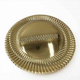 10 assiettes or striée 30cm