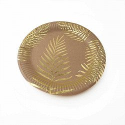 10 assiettes rondes kraft feuille tropicale