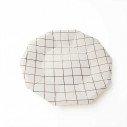 10 assiettes polygone blanche motif rose gold