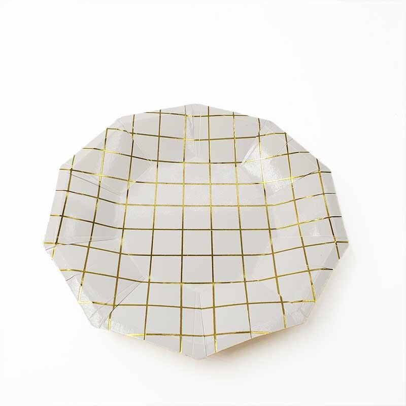10 assiettes polygone blanche motif or