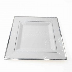 6 assiettes carrées blanches bord argent 25cm