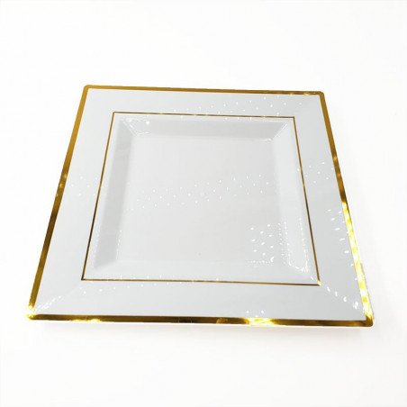 6 assiettes carrées blanches bord or 25cm