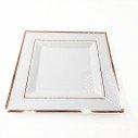 6 assiettes carrées blanches bord rose gold 25cm