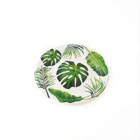 10 petites assiettes feuille tropicale verte