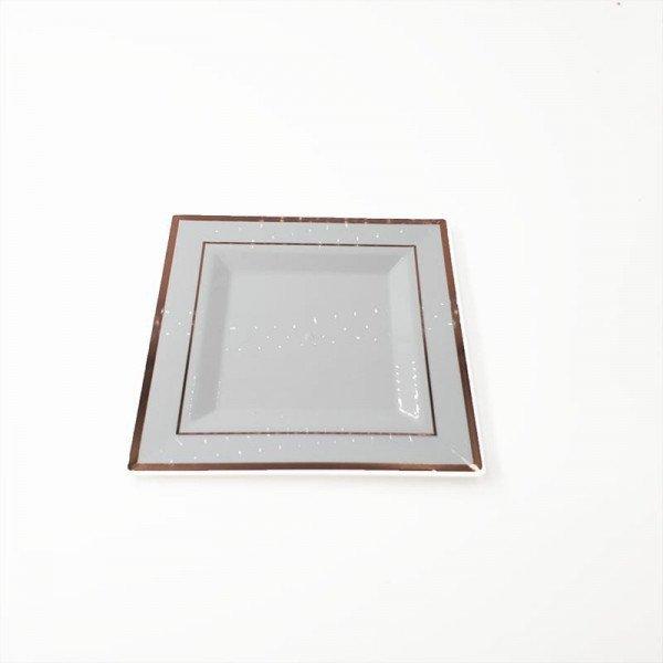 6 assiettes carrées blanches bord rose gold 18cm