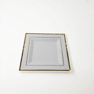 6 assiettes carrées blanches bord or 18cm