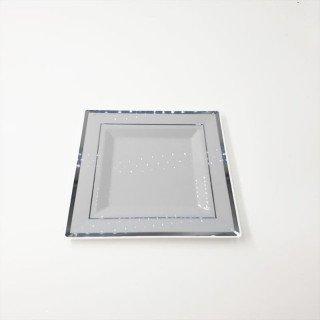 6 assiettes carrées blanches bord argent 18cm
