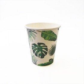 10 gobelets blanc feuille tropicale verte