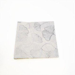 Serviette papier feuille ginkgo argent x16