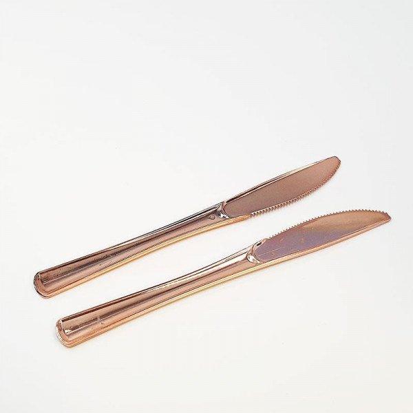 12 couteaux plastique rose gold