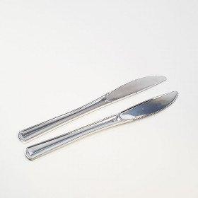 12 couteaux plastique argent