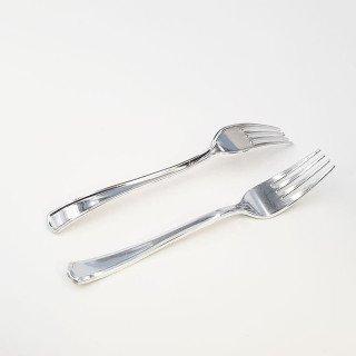 12 fourchettes plastique argent