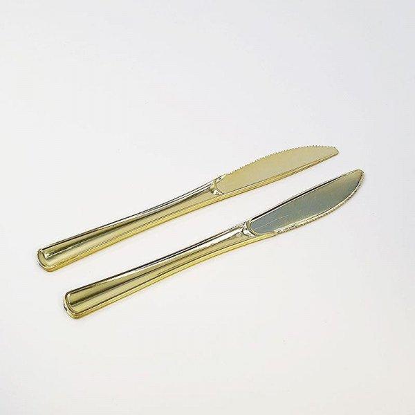 12 couteaux plastique or