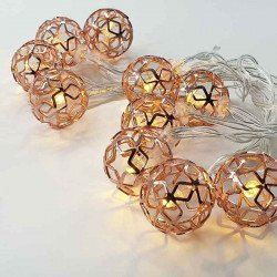 Guirlande 10 boules a led rose gold