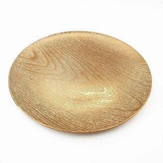 Sous assiette ronde effet bois or 33cm