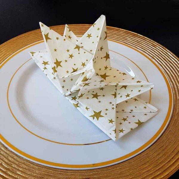 Serviettes papier pré-pliées motif étoile or (boite de 12)