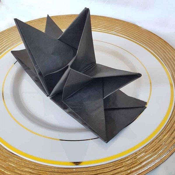 Serviettes papier pré-pliées noires (boite de 12)
