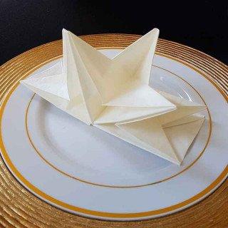Serviettes papier pré-pliées blanches (boite de 12)