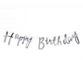 Guirlande Happy Birthday argent